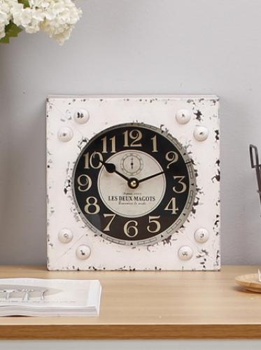 빈티지 탁상시계(벽걸이겸용)-화이트 [제작 대량 도매 로고 인쇄 레이저 마킹 각인 나염 실크 uv 포장 공장 문의는 네이뽕]