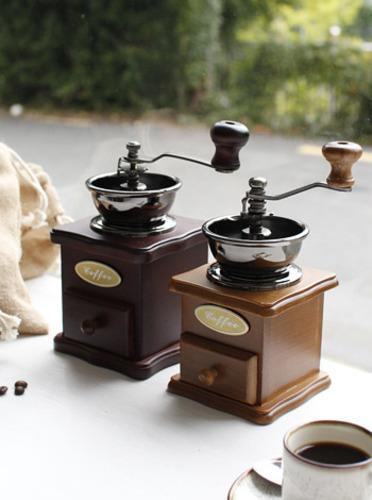 빈티지브라운 커피 글라인더 -2type [제작 대량 도매 로고 인쇄 레이저 마킹 각인 나염 실크 uv 포장 공장 문의는 네이뽕]
