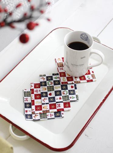 크리스마스 컵받침 4P [제작 대량 도매 로고 인쇄 레이저 마킹 각인 나염 실크 uv 포장 공장 문의는 네이뽕]