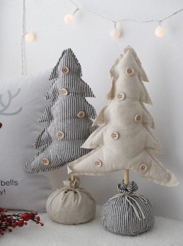 크리스마스 패브릭 트리장식 - 2color [제작 대량 도매 로고 인쇄 레이저 마킹 각인 나염 실크 uv 포장 공장 문의는 네이뽕]