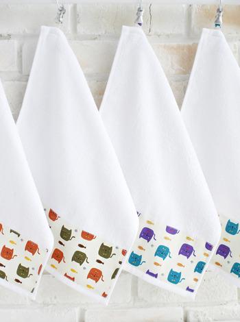 냐옹이 주방수건 2P (2color) [제작 대량 도매 로고 인쇄 레이저 마킹 각인 나염 실크 uv 포장 공장 문의는 네이뽕]
