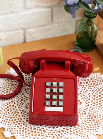 코텔코 빈티지 유선전화기(레드) [제작 대량 도매 로고 인쇄 레이저 마킹 각인 나염 실크 uv 포장 공장 문의는 네이뽕]